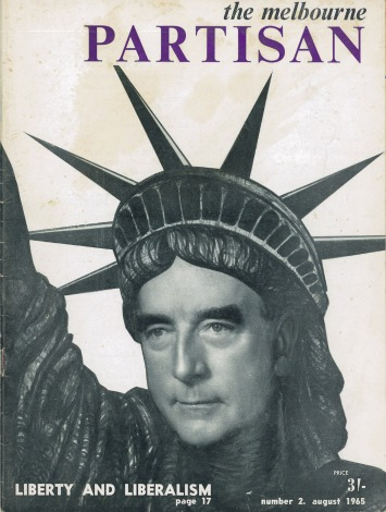 Cover of The Melbourne Partisan featuring Robert Menzies as the Statue of Liberty