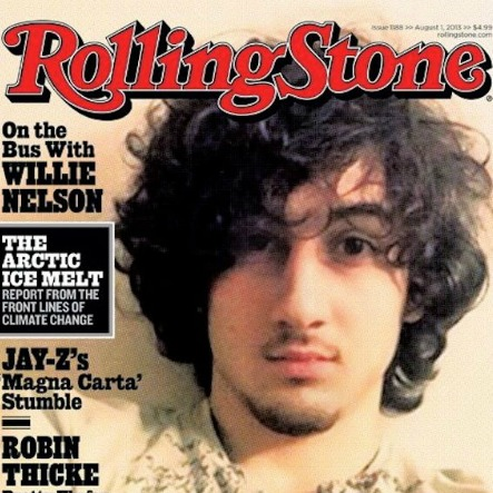 Rolling Stone cover featuring a photograph of the alleged Boston bomber, Dzhokhar Tsarnaev