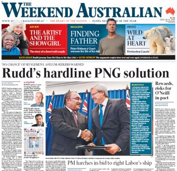 Weekend Australian front page features the headline 'Rudd's hardline PNG solution'