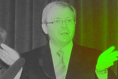 Kevin Rudd overcome by a green glow