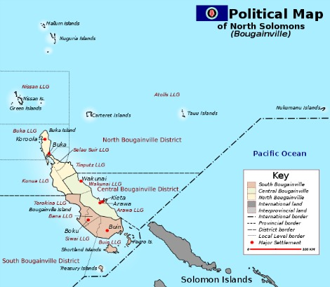 This political map shows the of North Solomons or Bougainville Province, which is an autonomous province of Papua New Guinea, that is geographically located in the Solomon Islands, forming a part of the Bismarck Archipelago, southwest of New Ireland.