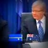 Kevin Rudd with Nauru and Australian flags