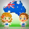 Young boy and young girl in Australian flag T-shirts