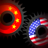 Cog marked with Chinese flag interlocks with cog marked with USA flag