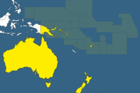 Map delineates Pacific Island region relative to Australia and New Zealand