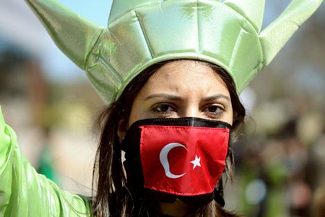 Armenian Genocide Protestor