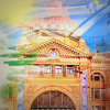 Artistic representation of Flinders Street Station undergoing a variety of weather conditions. From the brochure for the 2013 ARPA conference Storm Proof: Good News for All Seasons