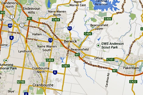 Outer eastern Melbourne map