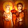 Menas and Christ: 8th Century Coptic Icon. Bearded, haloed men