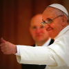 Pope Francis smiling, thumbs-up