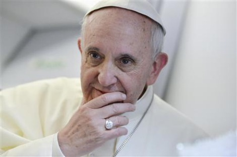 Pope Francis listening, thoughtful