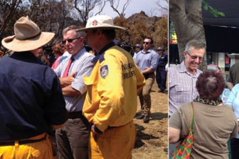 Split frame. Left: thoughtful politician speaks to firefighters. Right: smiling politician talks to women