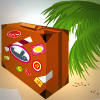 Suitcase with stickers sitting under a palm tree
