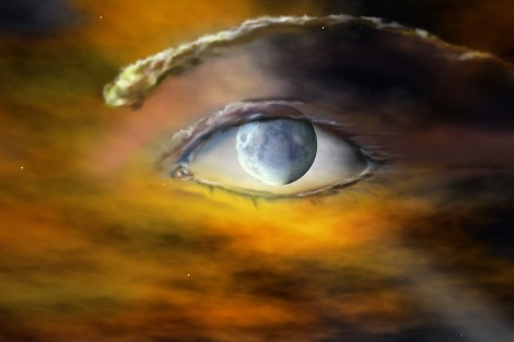 Eye with a planet for its pupil