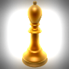 Golden bishop chess piece