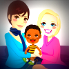 Lesbian mothers sit with a young child (illustration)
