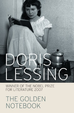 Cover of Doris Lessing's The Golden Notebook features a young woman in a nightgown sitting on the floor with a book and a cigarette