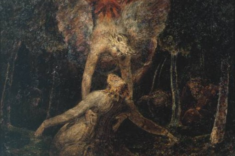 In 'The Agony in the Garden' by William Blake a majestic angel breaks through the surrounding darkness and descends from a cloud to aid and physically support Jesus in his hour of agony.
