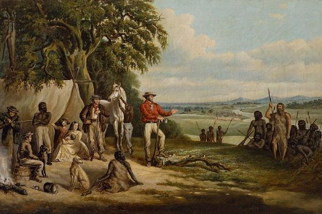 The first settlers discover Buckley, painting, oil on canvas, 62.5 x 95.5 cm, by Frederick William Woodhouse