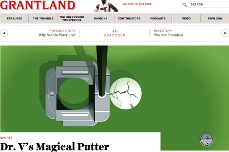 Screen cap from Grantland's article 'Dr V.'s Magic Putter' shows a cartoon version of the 'magic' putter beside a cracked golf ball
