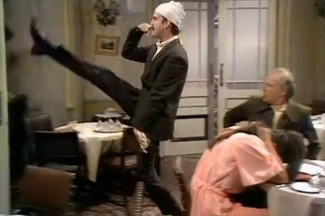 John Cleese's 'funny Hitler walk' from Fawlty Towers