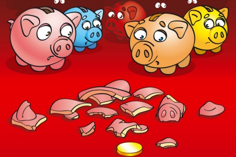 Piggy banks look frightened at the sight of one of their peers lying shattered and empty on the ground