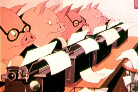Angry looking pigs sit at typewriters in an animated adaptation of George Orwell's 'Animal Farm'