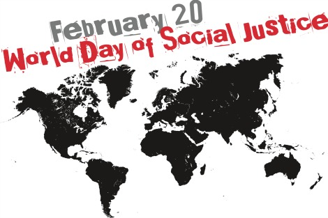 World Day of Social Justice poster features a map of the world in black on white