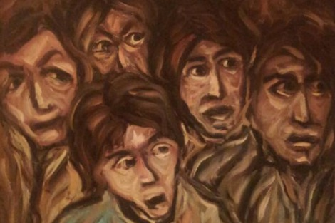 Detail from the painting 'Looking at What' portrays the shocked faces of townspeople as they witness the horrific aftermath of a concentration camp