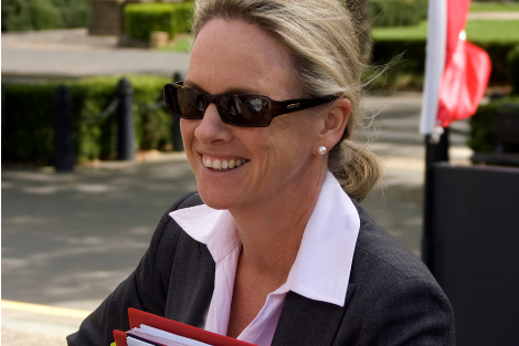 Fiona Nash smiling, wearing sunglasses