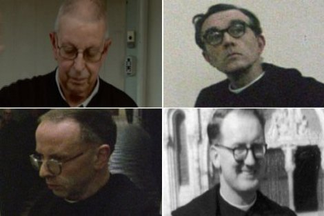 Accused priests Chrysostom Alexander, Gregory Brusey, Aidan Duggan and Edward Delepine (BBC)