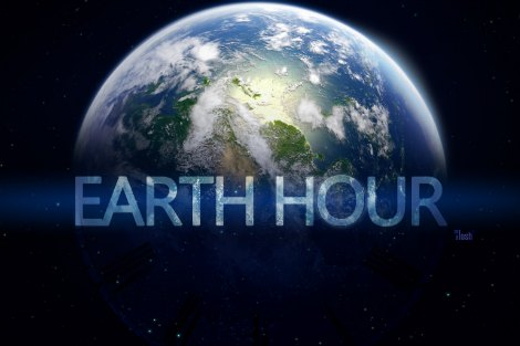 Earth Hour artwork featuring half-lit planet earth