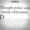 Scan of Eureka Street page bearing Frank Brennan headline 'Thought police and racial vilification'