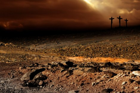 Desolate landscape with three crosses