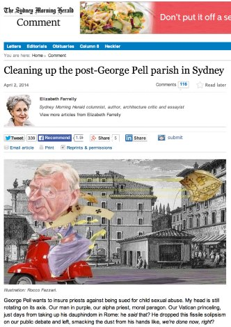 Screen grab of Elizabeth Farelly's SMH op ed 'Cleaning up the post-George Pell parish in Sydney'