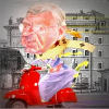 Cartoon of George Pell on a scooter