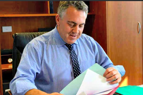 Joe Hockey shuffling papers