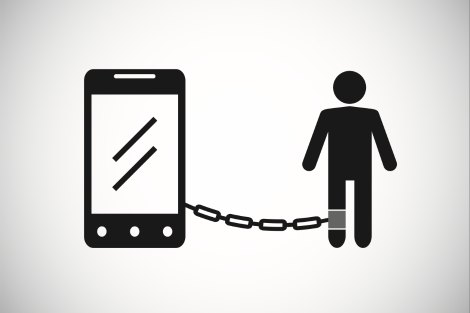 Person chained to phone