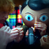 Domhnall Gleeson and Michael Fassbender in Frank