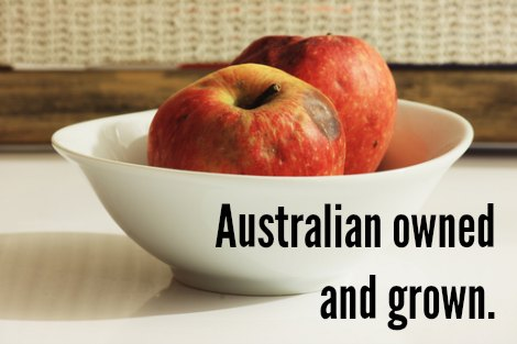 Rotten apples with the caption 'Australian owned and grown'