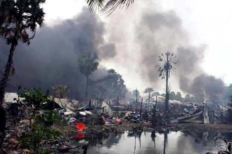Tamil homelands burned by Sri Lankan military