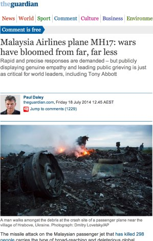 'Wars have bloomed for far, far less', article from The Guardian