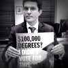 Scott Ludlum holds a poster reading '$100,000 degrees? I din't vote for this'