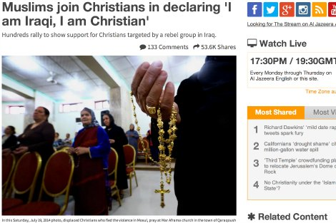 Al Jazeera article headline 'Muslims join Christians in declaring 'I am Iraqi, I am Christian''