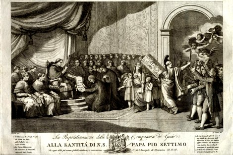 Engraving depicting the Restoration of the Society of Jesus, 7 August 1814