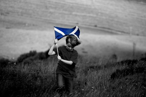 Child with Scottish flag