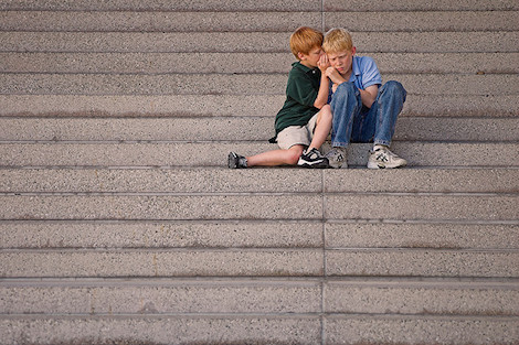 Two boys on steps