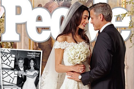 Amal Alamuddin and George Clooney from People Magazine cover