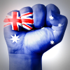 Australian flag painted on fist