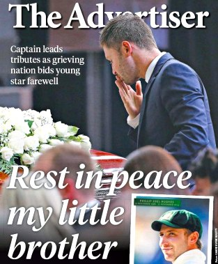 Mourning Michael Clarke on cover of The Advertiser